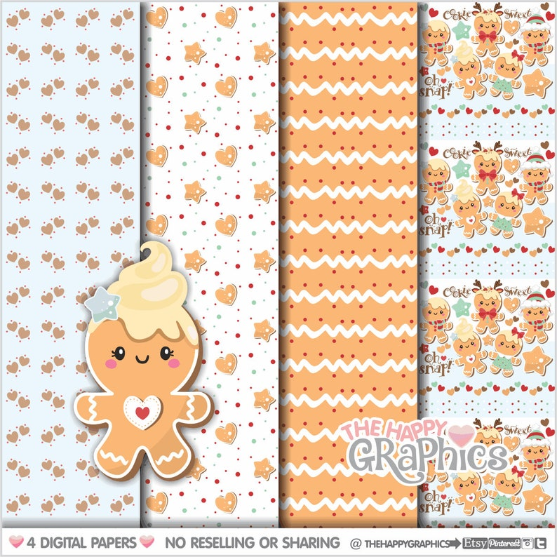 Gingerbread Digital Papers Gingerbread Pattern COMMERCIAL image 0