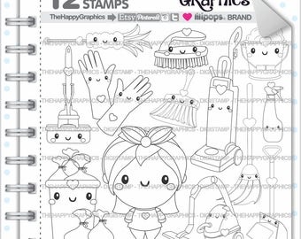 Clean Up Stamp, 80%OFF, Commercial Use, Digi Stamp, Digital Image, Clean Up Digistamp, Coloring Page, Chore Stamps, Housekeeping, Organizing