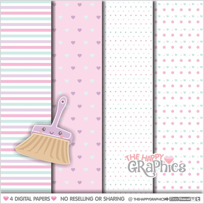 Clean Up Digital Paper COMMERCIAL USE Chore Pattern image 0