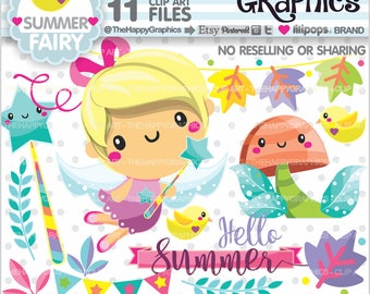 Summer Clipart, 80%OFF, Summer Graphic, COMMERCIAL USE, Summer Party, Summer Season, Fairy Clipart, Fairy Clip Art, Magical, Summer Time