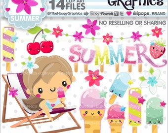 Summer Clipart, 80%OFF, Summer Graphic, COMMERCIAL USE, Beach Graphics, Summer Party, Popsicle Clipart, Ice Cream Clipart, Cute