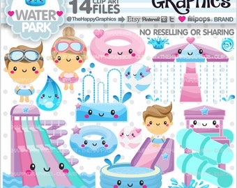 Water Park Clipart, 80%OFF, Water Park Graphics, COMMERCIAL USE, Planner Accessories, Pool Party, Summer Clipart, Theme Park, Cute