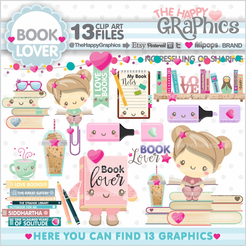 Book Clipart Book Graphics COMMERCIAL USE Planner image 0
