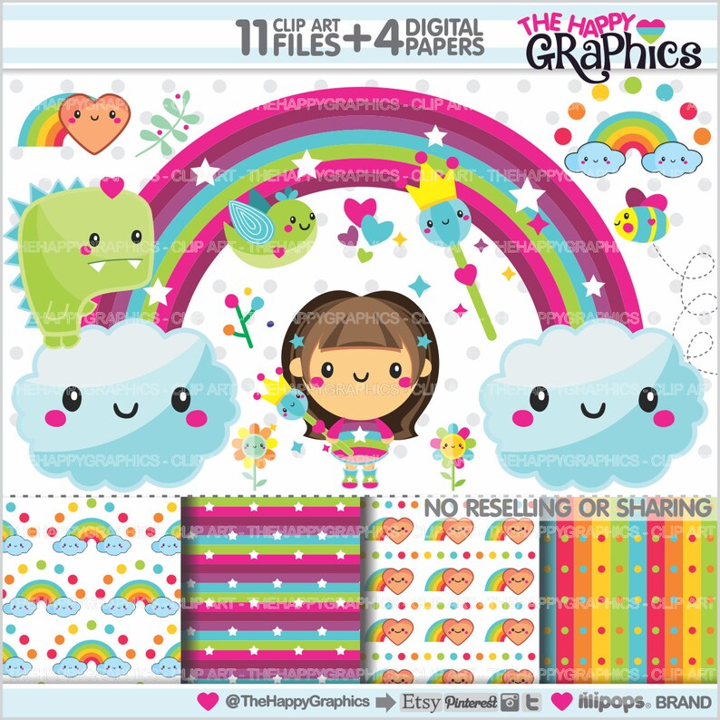 Rainbow Clipart Rainbow Graphics COMMERCIAL USE Planner image 0