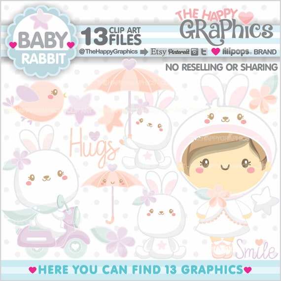 Rabbit Clipart Rabbit Graphic Family Clipart Clipart Commercial Use Baby Clipart Baby Girl Baby Shower Clipart New Born Clipart Baby By Thehappygraphics Catch My Party