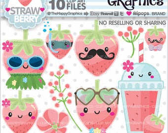 Strawberry Clipart, 80%OFF, Strawberry Graphics, COMMERCIAL USE, Strawberry Party, Strawberry Illustration, Summer Clipart, Tropical, Cute