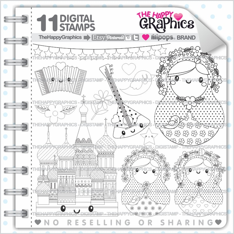 Russian Doll Digistamp COMMERCIAL USE Matrioska Stamp image 0