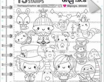 Alice In Wonderland Stamp 80OFF COMMERCIAL USE Digi Digital Image Digistamp Coloring Page Graphic