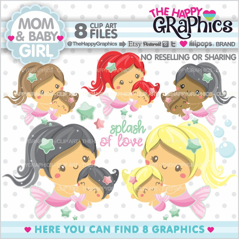 Mom Clipart Mom Graphics COMMERCIAL USE Mermaid Clipart image 0