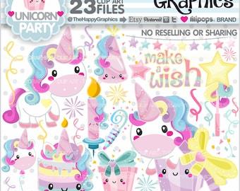 Unicorn Clipart, Unicorn Graphic, COMMERCIAL USE, Unicorn Party, Magical, Magic Clipart, Unicorn Illustration, Birthday Clipart, Cute
