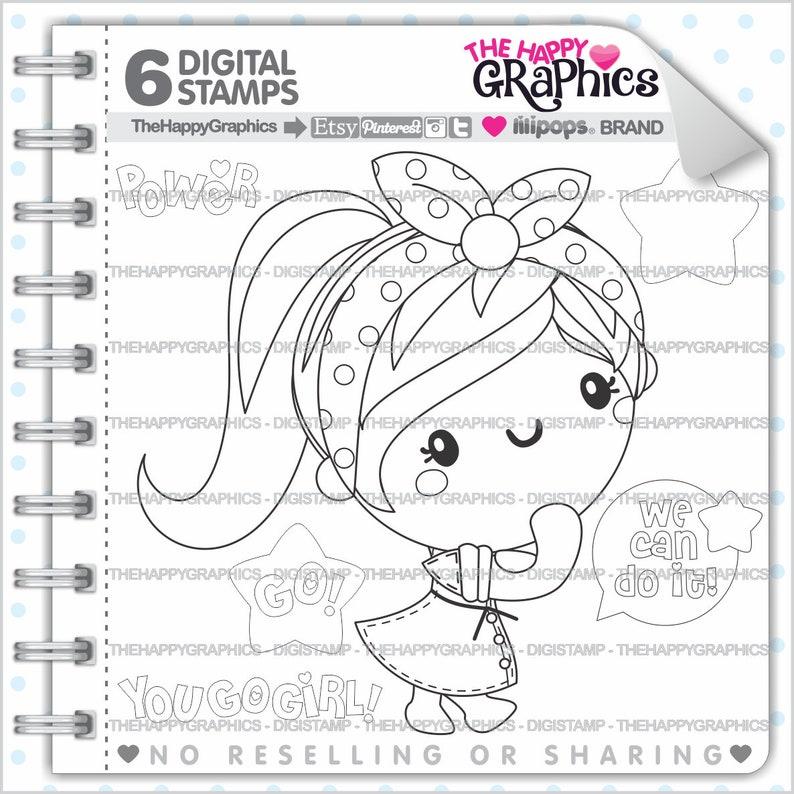 Girl Stamps Commercial Use Digi Stamp Digital Image Girl image 0