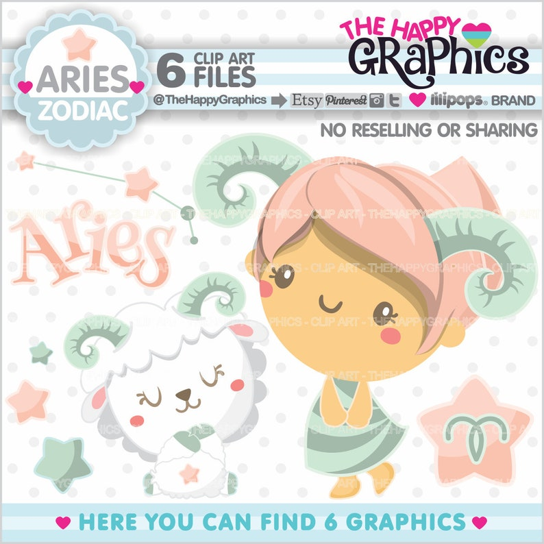 Aries Clipart Aries Graphics COMMERCIAL USE Zodiac Clipart image 0