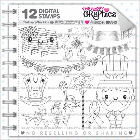 4th Of July Stamp Commercial Use Digi Digital Image