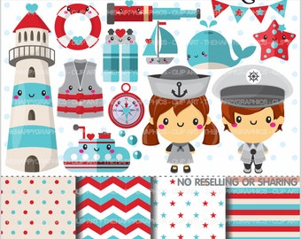 Nautical Clipart, 80%OFF, Navy Clipart, COMMERCIAL USE, Cute Clipart, Marine Clipart, Sailor Clipart, Planner Accessories, Sea