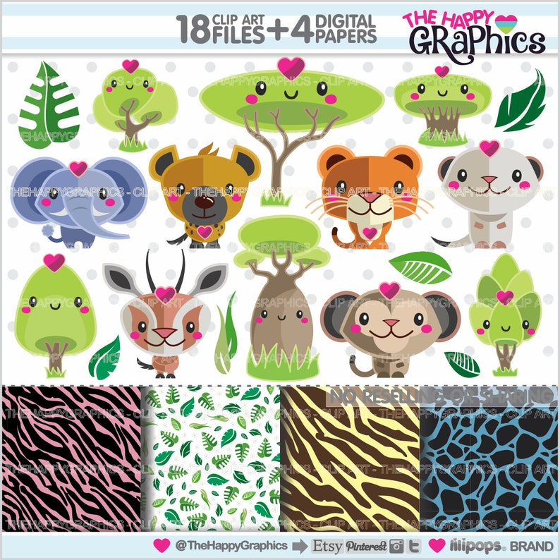 Animal Clipart Animal Graphics COMMERCIAL USE Jungle image 0