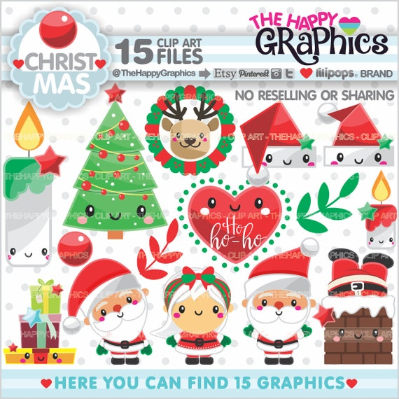 Christmas Clipart Christmas Graphics Commercial Use Christmas Party Planner Accessories Winter Clipart Santa Clipart Kawaii By Thehappygraphics Catch My Party