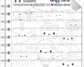 Laundry Stamps, 80%OFF, Commercial Use, Digi Stamp, Digital Image, Laundry Digistamp, Coloring Page, Hanger Stamps, Cute Digistamp, Kawaii