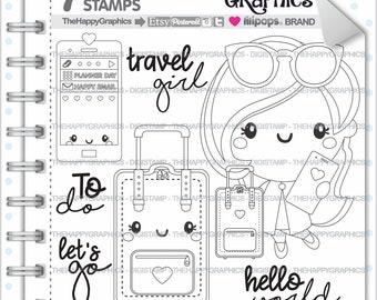 Travel Girl Stamp, 80%OFF, Commercial Use, Digi Stamp, Digital Image, Travel Digistamp, Girl Digital Stamp, Traveling Digistamp, Business