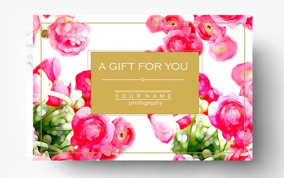 pre made gift card template photography gift certificate etsy