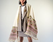 Embroidered Mexican Rebozo. Hand Loomed Wool. Mexican Embroidered Shawl.