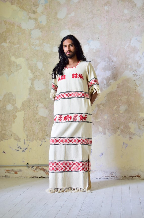 Vintage Mexican Dress. Woven Dress. Mexican Huipil
