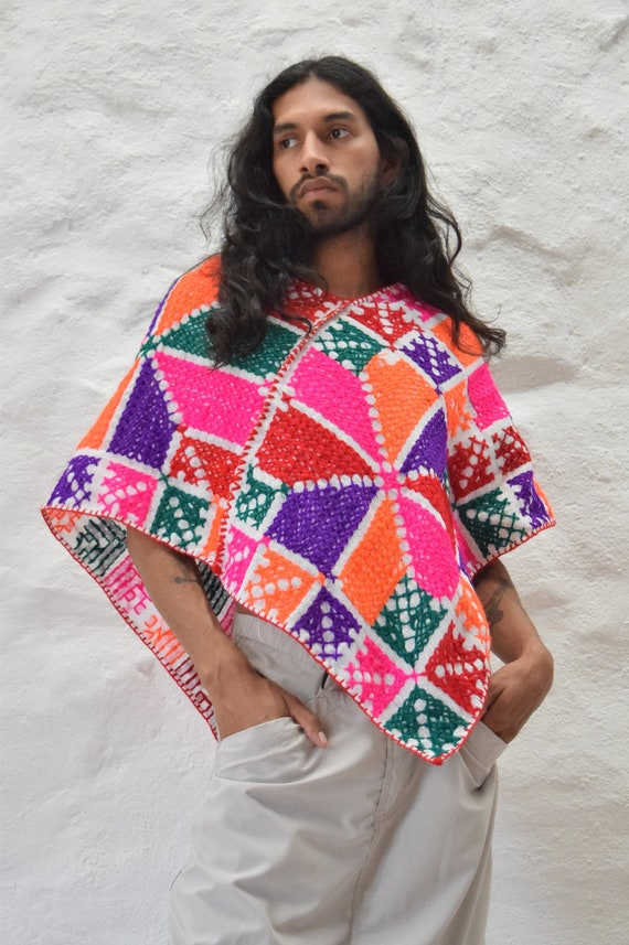 Traditional Mexican Cross Stitch Poncho