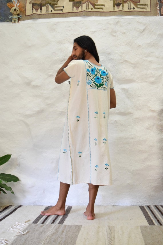 Hand Embroidered Raw Cotton Mexican Dress