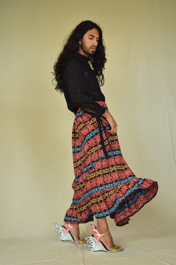 Vintage Mexican Skirt. Mexican Woven Skirt.