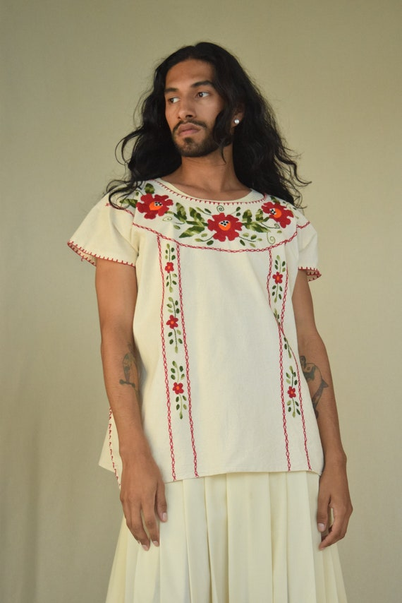 Hand Embroidered Mexican Blouse. Embroidered Blous