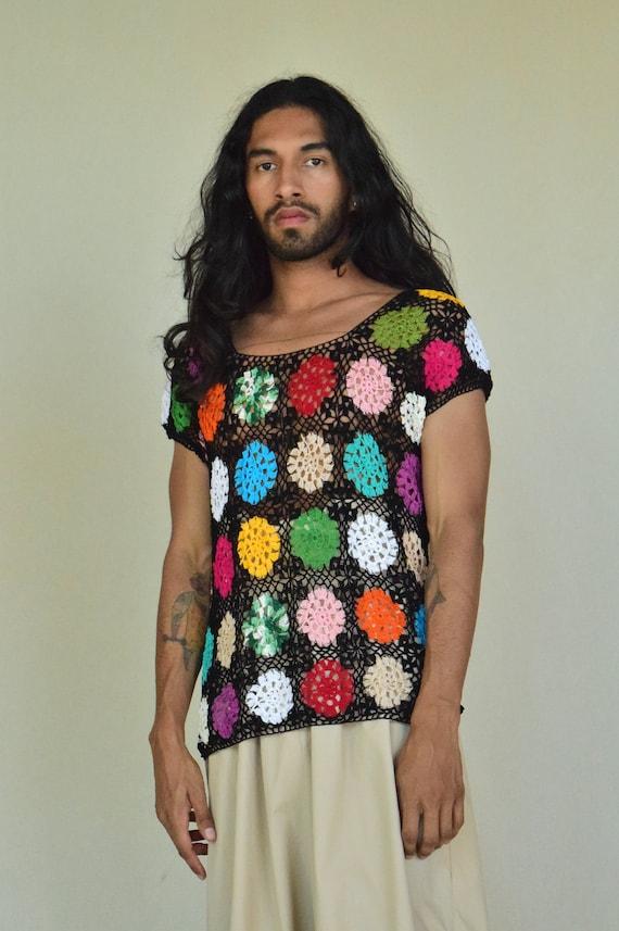 Vintage Crochet Blouse. Mexican Blouse. Granny Squ