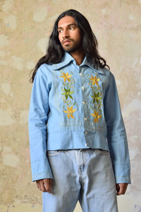 Vintage Mexican Blouse. Mexican Shirt. Denim Shirt