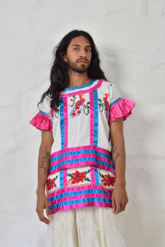 Vintage Mazatec Huipil. Embroidered Mexican Huipil
