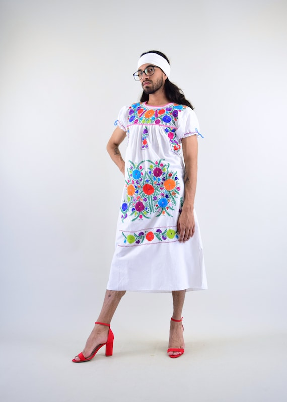 Mexican Dress. Embroidered Dress. Mexican Huipil.