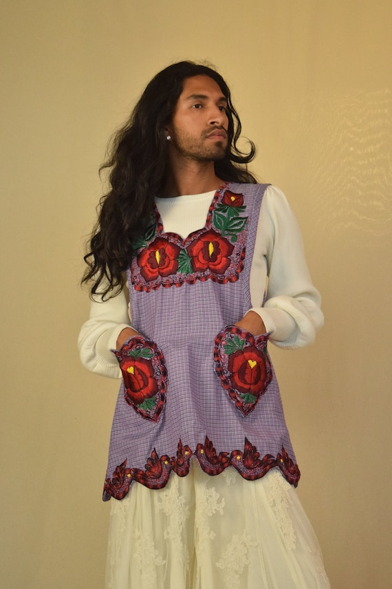 Vintage Mexican Apron. Embroidered Apron