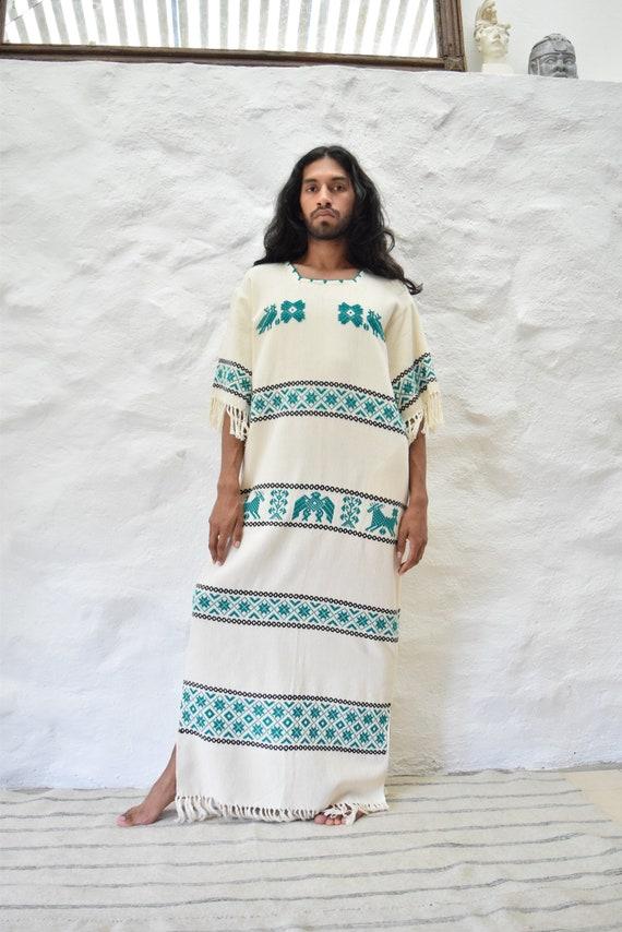 Vintage Mexican Dress. Woven Dress.