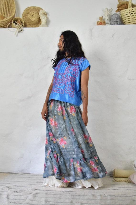 Mexican Skirt. Full Skirt. Chiffon Skirt