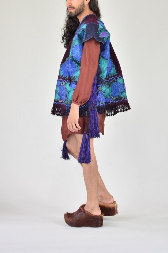 Vintage Poncho. Mexican Embroidered Jacket
