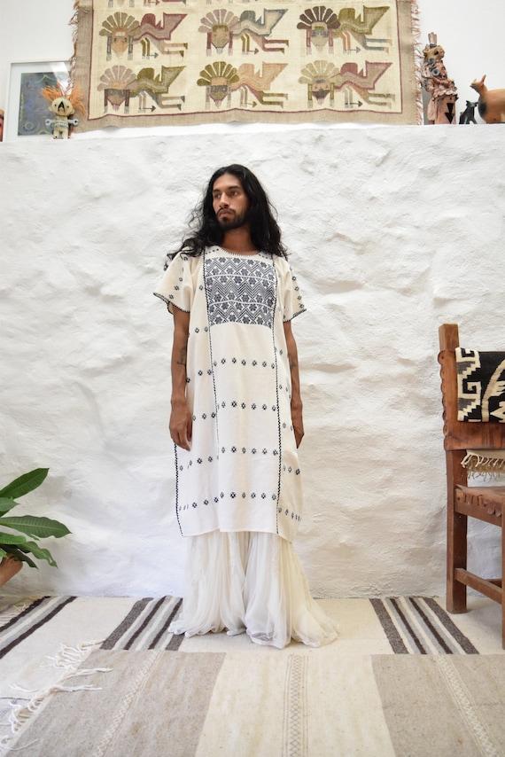 Vintage Mexican Amuzgo Huipil.  Mexican Woven Dre… - image 1