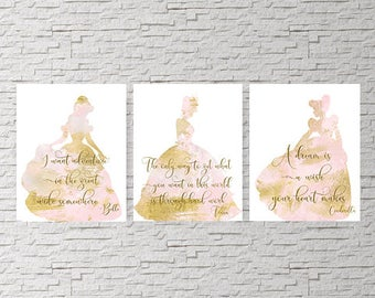 Disney princess, Set of 3, Princess Nursery, Disney Quotes, Nursery Decor, Baby shower gift, beauty and the beast, Tiana, Cinderella, TINK