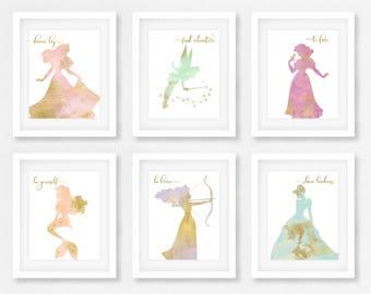Disney princess, nursery, Set of 6, Gift for her, Disney Quote, Princess, Wall art, Baby shower, Cinderella, Ariel, little girls room, TINK