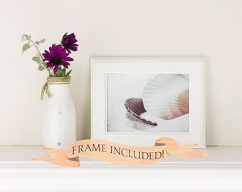 Seashell photo, Gift for mom, Ocean photography, Under the sea Nursery theme, Beach photography, Sand and sea shell, Cottage, Frame included
