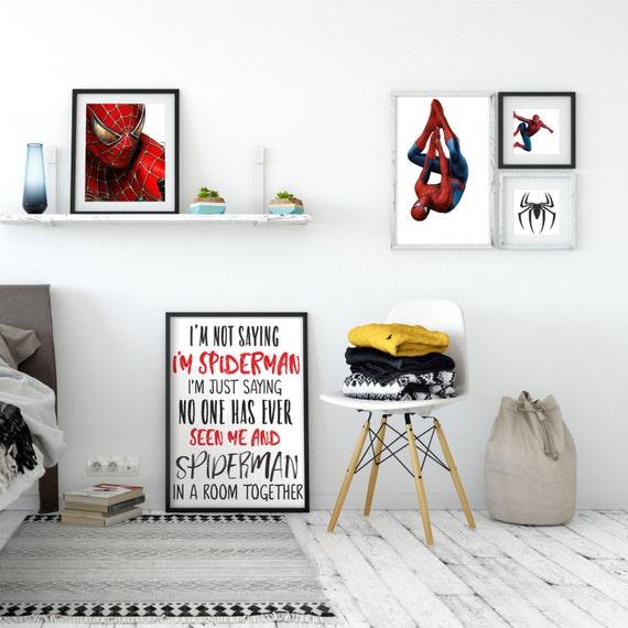 Set Aus 5 Spiderman Themen Drucke Spiderman Kinderzimmer Jugendliche Zimmer Dekor Superhero Party Geschenk Fur Geschenk Fur Vater Sohn Superheld