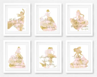 Disney, Nursery, Wall Art, Baby shower, The little mermaid, Gift for her, Disney Quotes, Belle, Cinderella, Beauty and the beast, Unframed