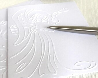 Angel Christmas Cards Pack (No.146) - Set of 6 Angel Embossed Christmas Cards.  White Christmas Cards, Winter Cards, Minimalist