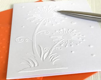 Dandelion Embossed Cards (No.105) - Pack of 6 White Dandelion Note Cards. Dandelion Cards. Dandelion Clock. Flower Cards. Floral Card