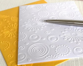 Retro Circles Cards (No.110) - Pack of 6 Blank Note Cards With Envelopes. Embossed Stationery. Handmade Cards. Stationery Lover