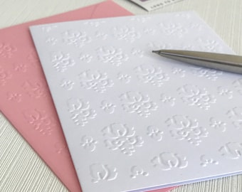 Damask Note Cards (No.128) - Pack of 6 Blank Note Cards With Envelopes. Embossed Stationery. Handmade Cards. Greeting Cards. Gift for Her