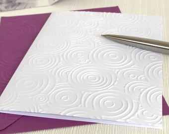 Circles Note Cards (No.125) - Pack of 6 Blank Note Cards With Envelopes. Embossed Stationery. Handmade Cards. Greeting Cards