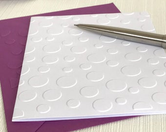 Bubbles Cards (No.129) - Pack of 6 Blank Note Cards With Envelopes. Embossed Stationery. Handmade Cards. Greeting Cards