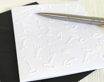 Keys Embossed Note Cards (No.44) - Pack of 6 White Blank Cards Suitable for Moving House, New Home, We've Moved, Estate Agent, Realtor
